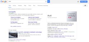 Gráfico de conocimiento ejemplo Audi